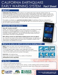 Click to download an accessible PDF of the Earthquake Early Warning Fact Sheet
